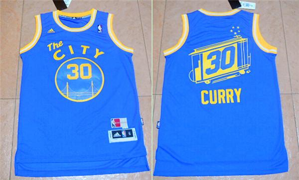 Warriors 30 Stephen Curry Blue Cityscape Swingman Jersey