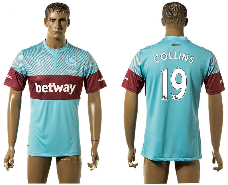 2015-16 West Ham United 19 COLLINS Away Thailand Jersey