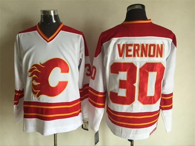 Flames 30 Mike Vernon White CCM Jersey