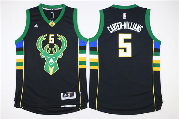 Bucks 5 Michael Carter-Williams Black Swingman Jersey