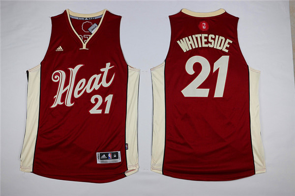 Heat 21 Hassan Whiteside Red 2015-16 Christmas Day Swingman Jersey