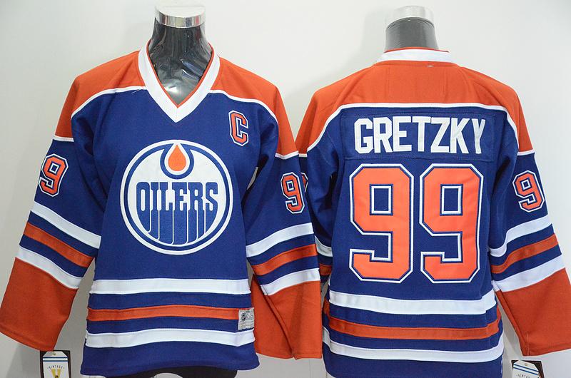 Oilers 99 Wayne Gretzky Blue CCM Jersey