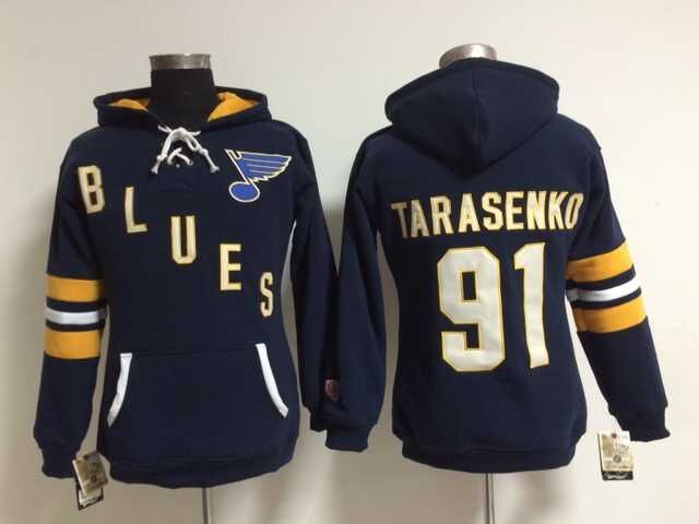 Blues 91 Vladimir Tarasenko Blue Women All Stitched Hooded Sweatshirt