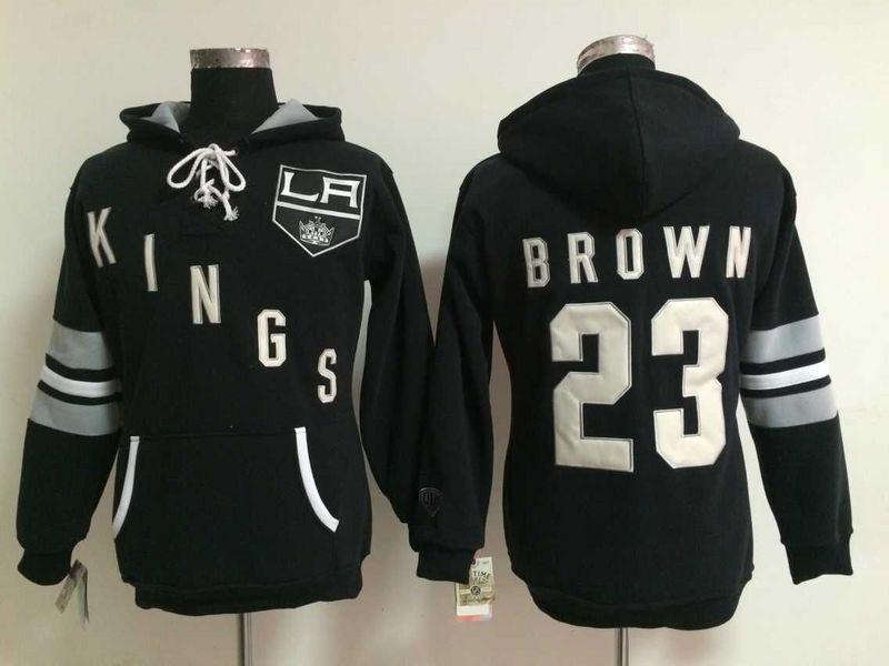 Kings 23 Dustin Brown Black Women All Stitched Hooded Sweatshirt