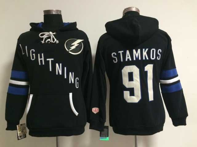 Lightning 91 Steven Stamkos Black Women All Stitched Hooded Sweatshirt