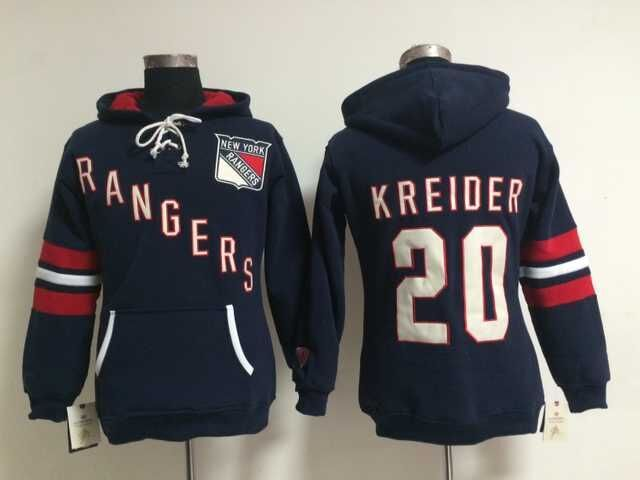 Rangers 20 Chris Kreider Blue Women All Stitched Hooded Sweatshirt