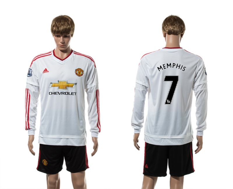 2015-16 Manchester United 7 MEMPHIS Away Long Sleeve Jersey