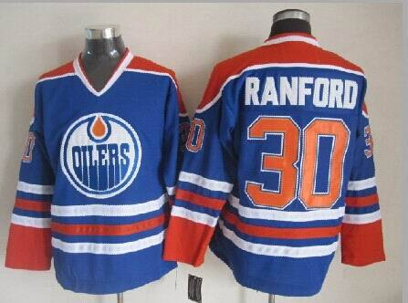 Oilers 30 Bill Ranford Blue CCM Jersey