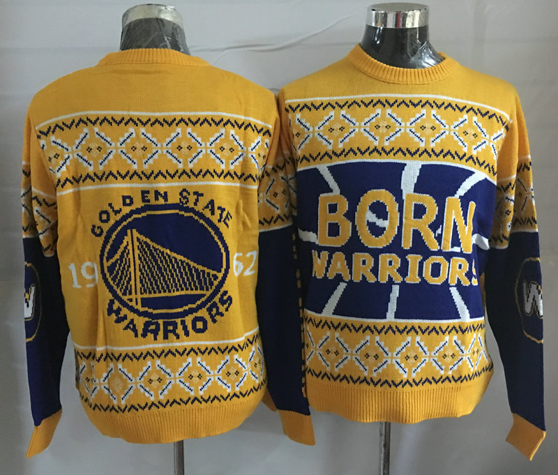 Golden State Warriors Gold Crew Neck Men's Ugly Sweater