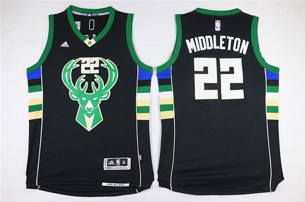 Bucks 22 Khris Middleton Black Swingman Jersey
