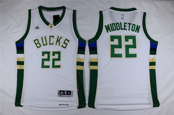 Bucks 22 Khris Middleton White Swingman Jersey