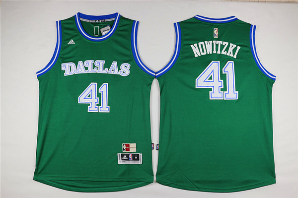 Mavericks 41 Dirk Nowitzki Green Swingman Jersey