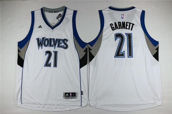 Timberwolves 21 Kevin Garnett White Swingman Jersey