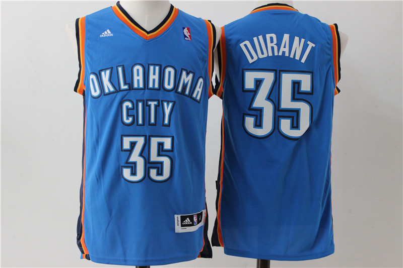 Thunder 35 Kevin Durant Blue Swingman Jersey