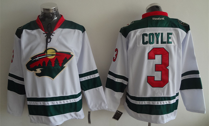 Wild 3 Charlie Coyle White Reebok Jersey