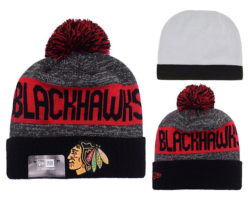 Blackhawks Team Logo Red & Grey Knit Hat YP