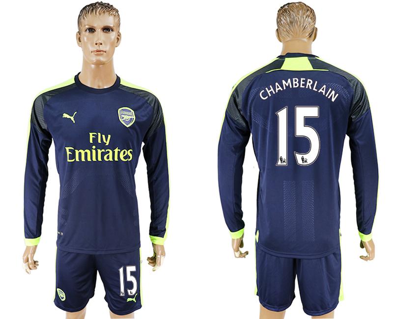 2016-17 Arsenal 15 CHAMBERLAIN Third Away Long Sleeve Soccer Jersey
