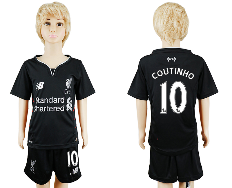 2016-17 Liverpool 10 COUTINHO Away Youth Soccer Jersey