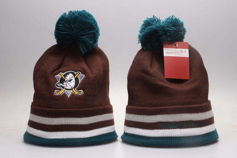 Ducks Team Logo Brown Knit Hat YP