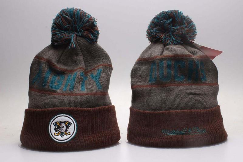 Ducks Team Logo Grey & Brown Knit Hat YP