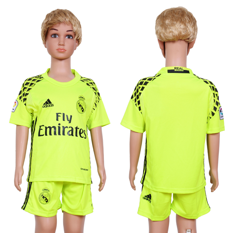 2016-17 Real Madrid Fluorescent Green Youth Goalkeeper Soccer Jersey