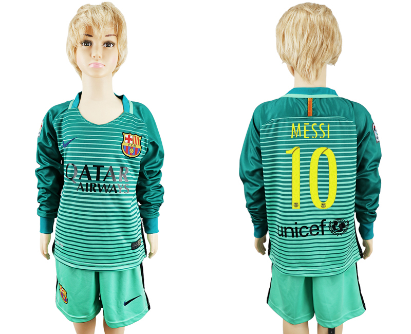 2016-17 Barcelona 10 MESSI Third Away Youth Long Sleeve Soccer Jersey