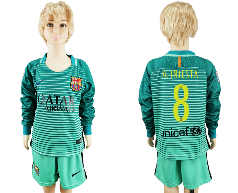 2016-17 Barcelona 8 A.INIESTA Third Away Youth Long Sleeve Soccer Jersey