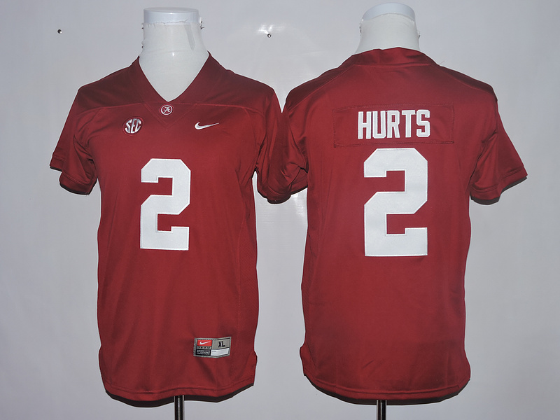 Alabama Crimson Tide 2 Jalen Hurts Red Youth College Football Jersey