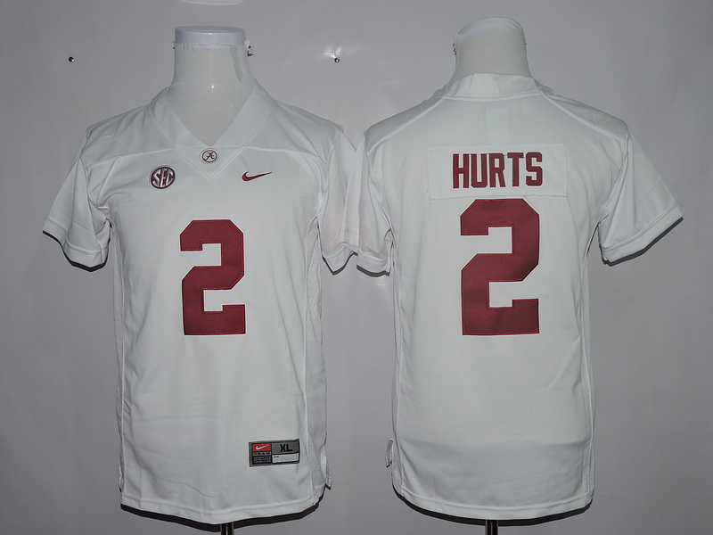 Alabama Crimson Tide 2 Jalen Hurts White Youth College Football Jersey