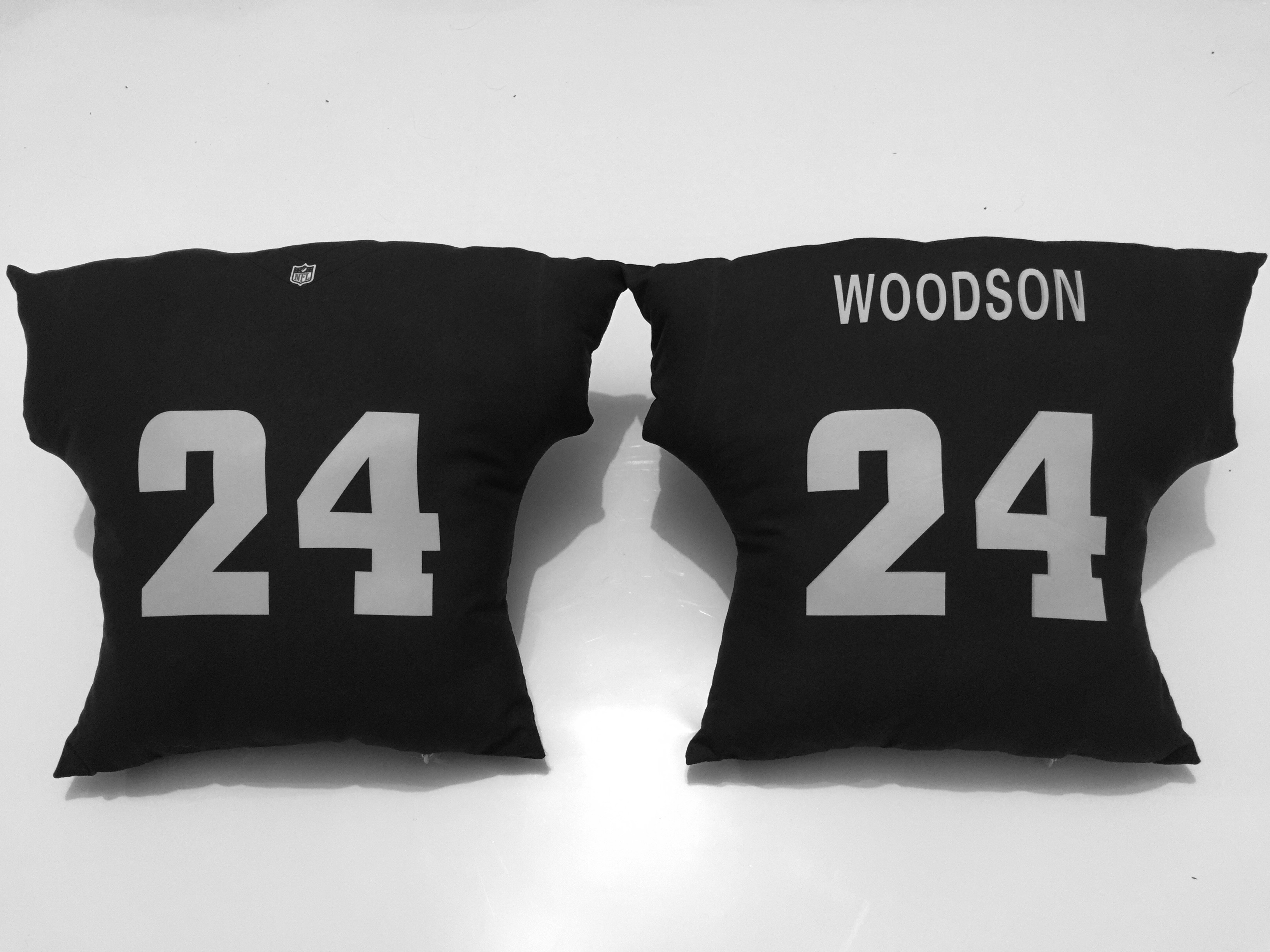 Oakland Raiders 24 Charles Woodson Black NFL Pillow