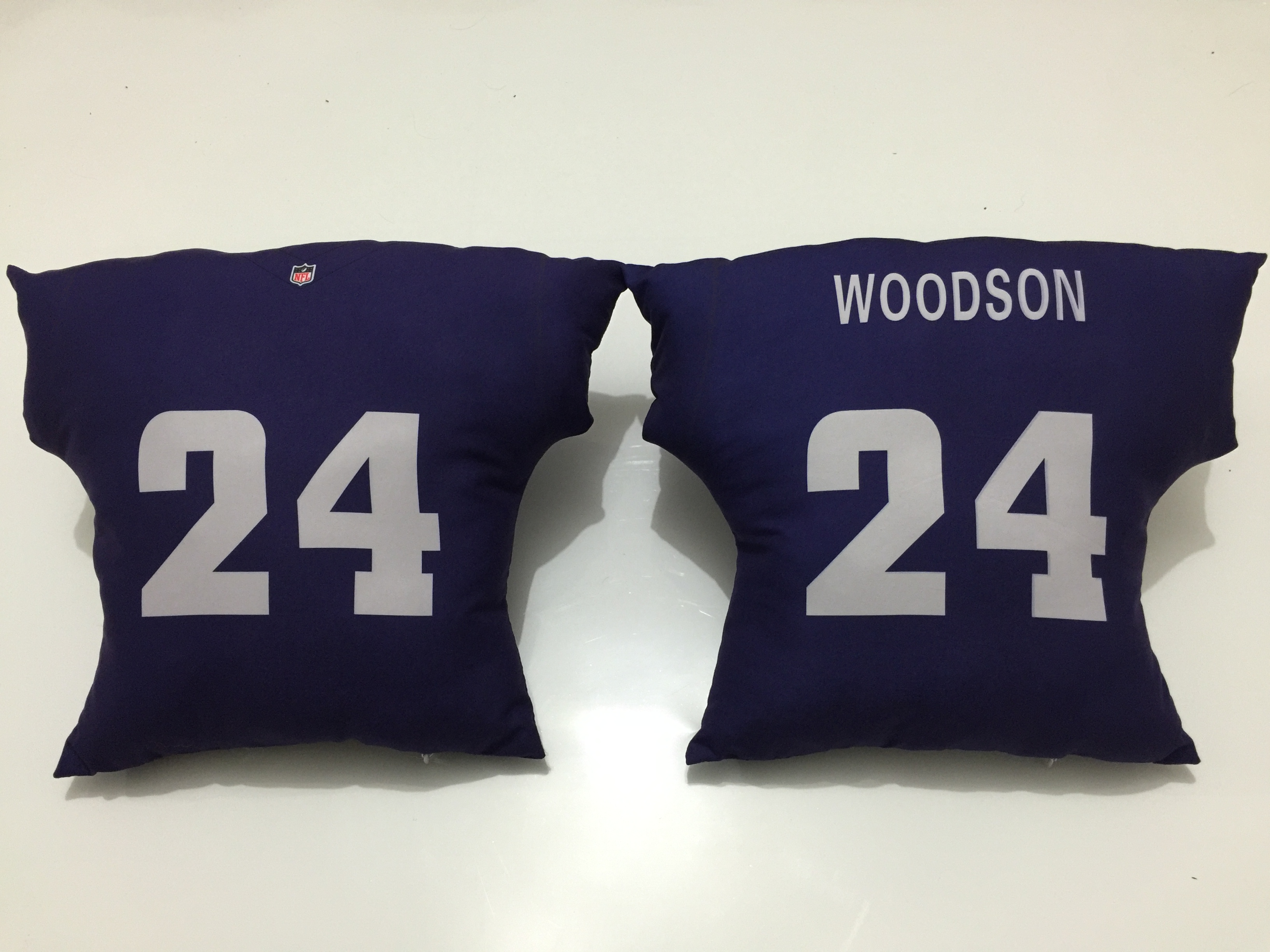 Oakland Raiders 24 Charles Woodson Navy NFL Pillow