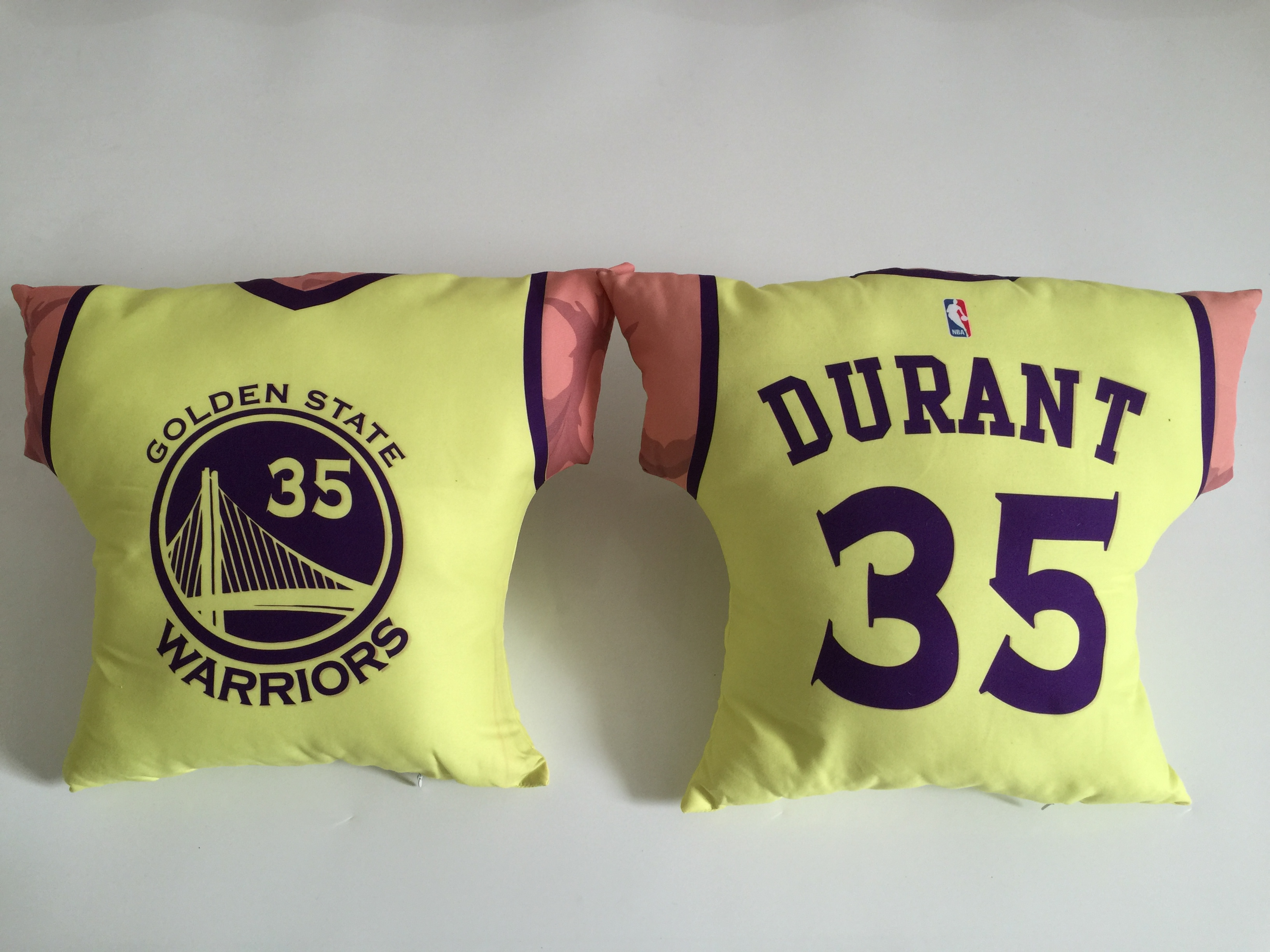 Golden State Warriors 35 Kevin Durant Yellow NBA Pillow