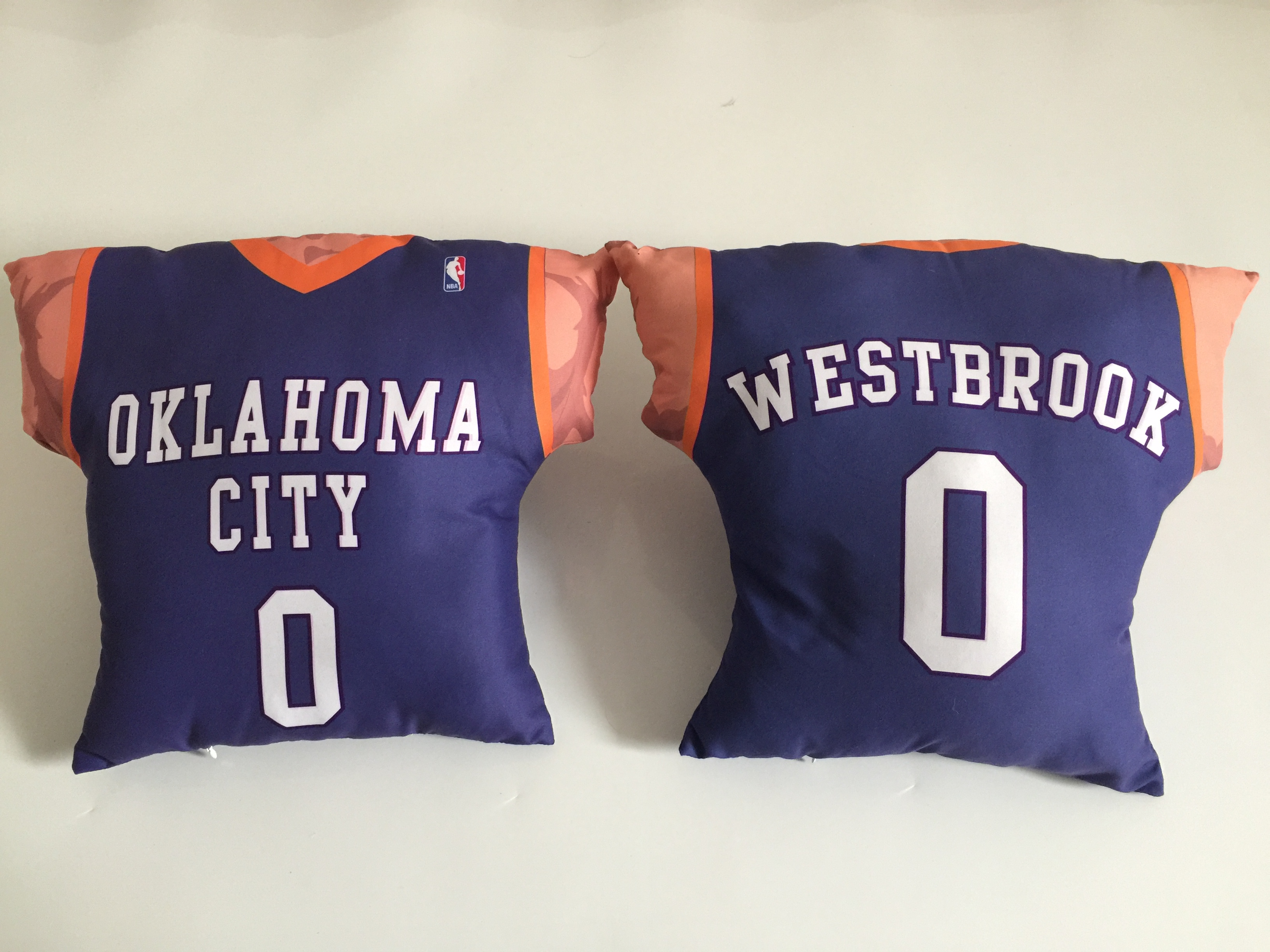Oklahoma City Thunder 0 Russell Westbrook Blue NBA Pillow