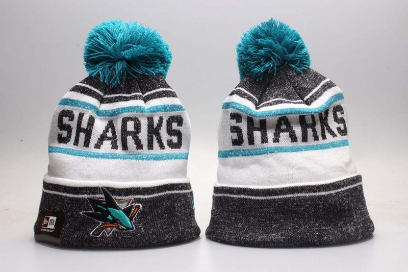 Sharks Team Logo White & Grey Knit Hat YP