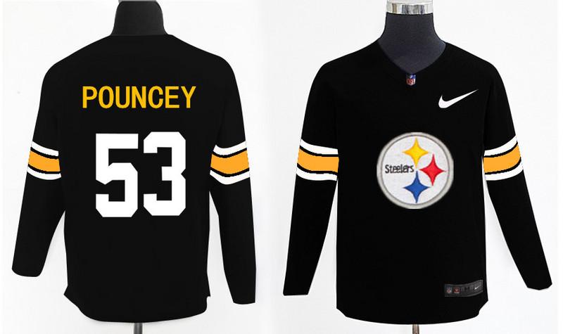 Nike Steelers 53 Maurkice Pouncey Black Knit Sweater
