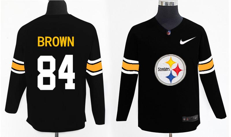 Nike Steelers 84 Antonio Brown Black Knit Sweater
