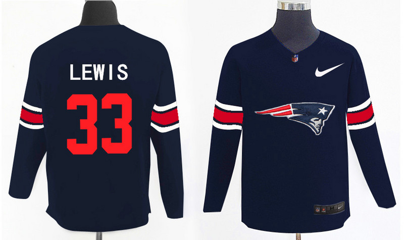 Nike Patriots 33 Dion Lewis Navy Knit Sweater