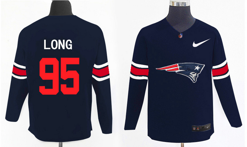 Nike Patriots 95 Chris Long Navy Knit Sweater