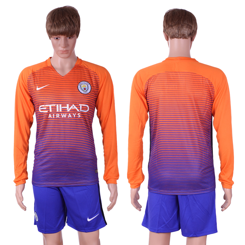 2016-17 Manchester City Third Away Long Sleeve Soccer Jersey