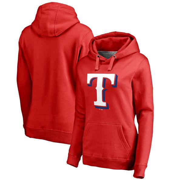 Texas Rangers Women's Plus Sizes Primary Team Logo Pullover Hoodie Red