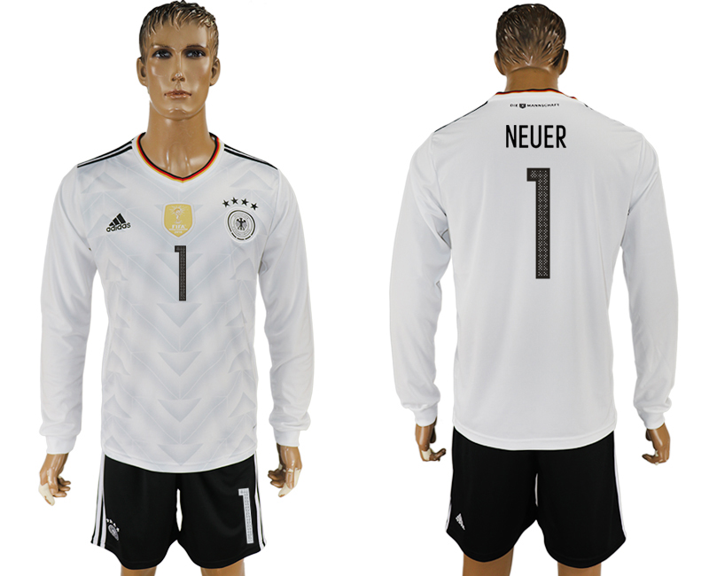 Germany 1 NEUER Home 2017 FIFA Confederations Cup Long Sleeve Soccer Jersey