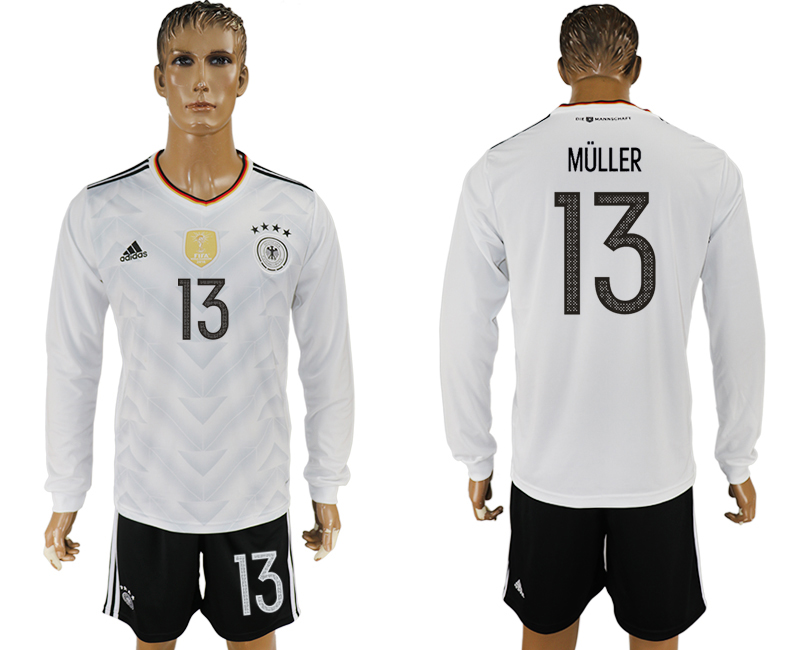 Germany 13 MULLER Home 2017 FIFA Confederations Cup Long Sleeve Soccer Jersey