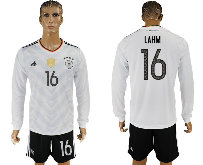 Germany 16 LAHM Home 2017 FIFA Confederations Cup Long Sleeve Soccer Jersey
