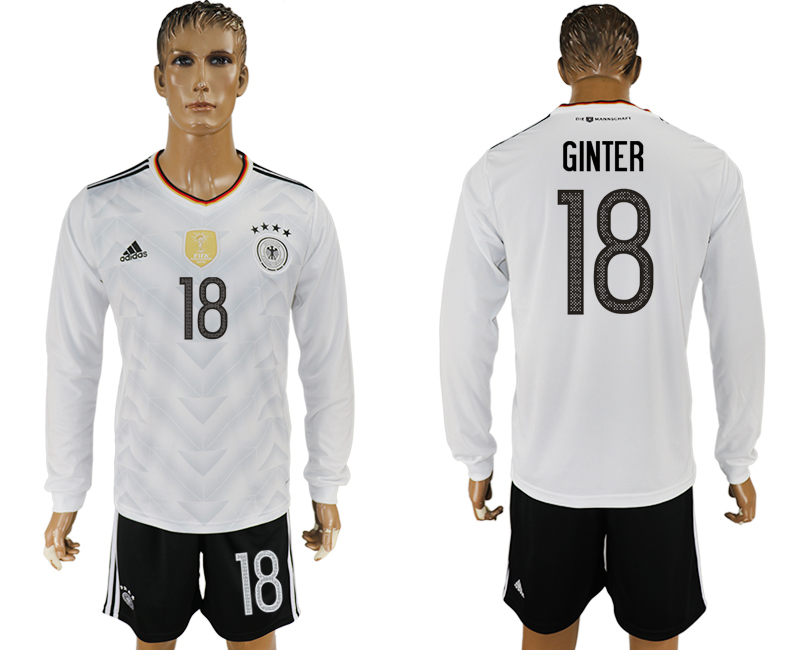 Germany 18 GINTER Home 2017 FIFA Confederations Cup Long Sleeve Soccer Jersey