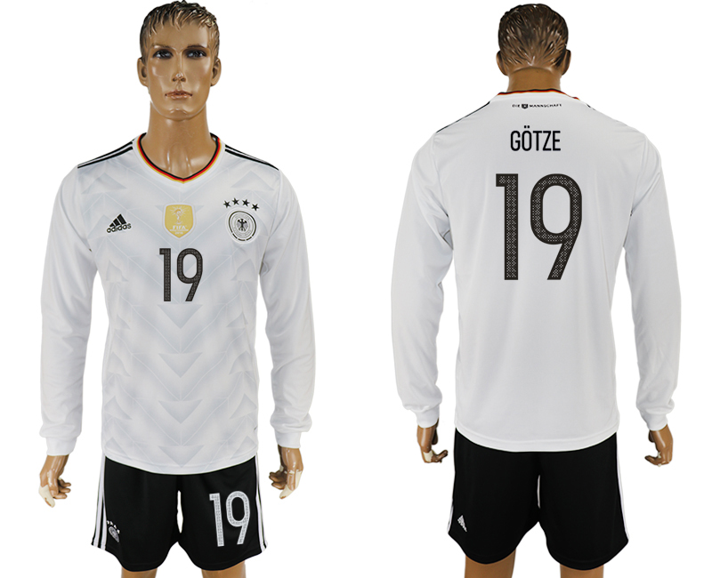 Germany 19 GOTZE Home 2017 FIFA Confederations Cup Long Sleeve Soccer Jersey