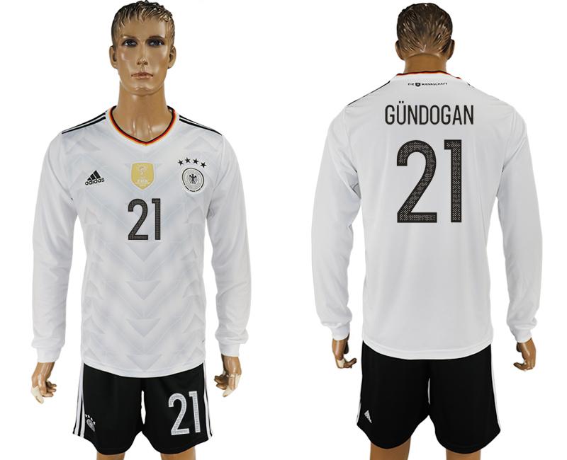 Germany 21 GUNDOGAN Home 2017 FIFA Confederations Cup Long Sleeve Soccer Jersey