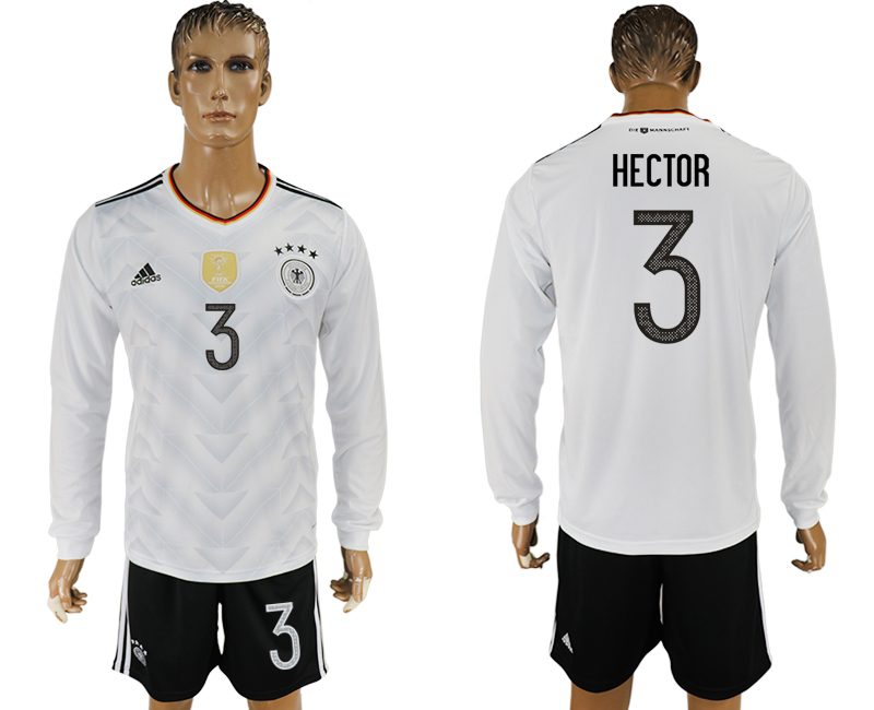 Germany 3 HECTOR Home 2017 FIFA Confederations Cup Long Sleeve Soccer Jersey