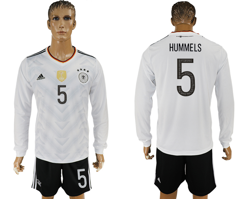 Germany 5 HUMMELS Home 2017 FIFA Confederations Cup Long Sleeve Soccer Jersey