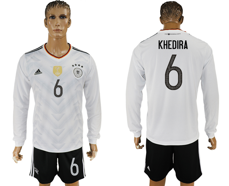 Germany 6 KHEDIRA Home 2017 FIFA Confederations Cup Long Sleeve Soccer Jersey