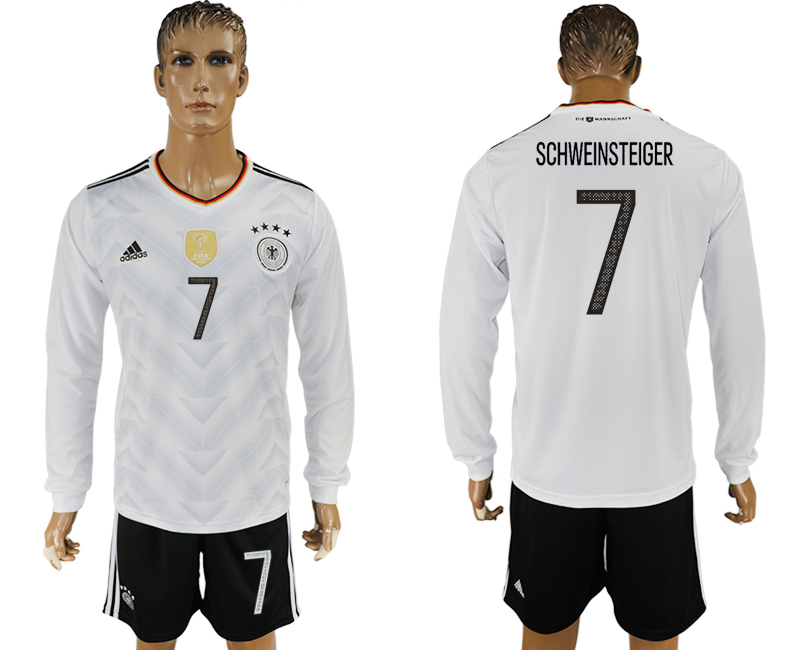 Germany 7 SCHWEINSTEIGER Home 2017 FIFA Confederations Cup Long Sleeve Soccer Jersey
